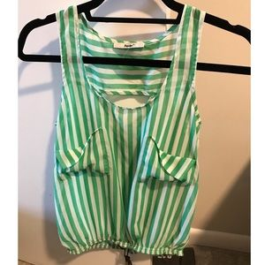 Green and white striped tank with tie at bottom